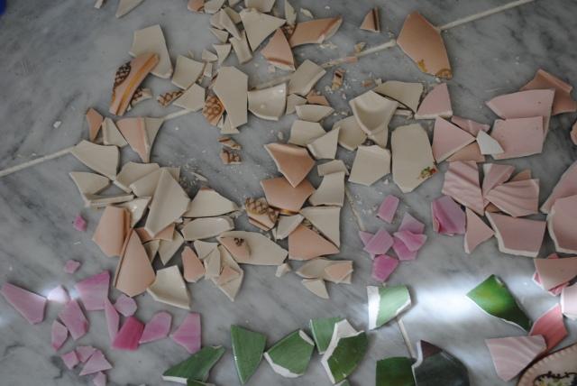 Broken pieces of china